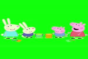 小猪佩奇做沙堡抠像素材