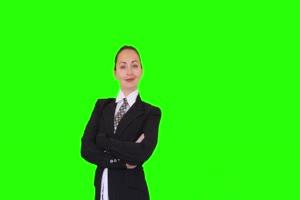 商务人士 美女 职场04 绿屏