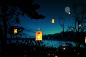 月夜孔明灯 背景素材 中秋节素材手机特效图片