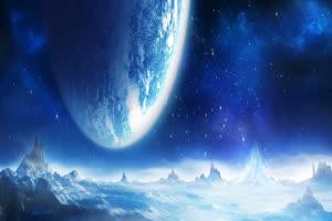 月色海面13 星空 月亮 夜晚 背景素材手机特效图片