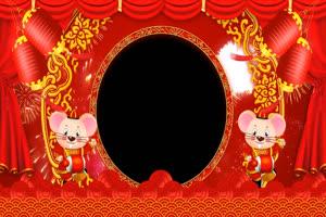 2020鼠年 春节 拜年边框 特效素材5 透明格式手机特效图片