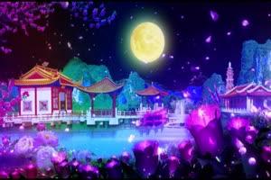 圆月花瓣唯美中秋快乐有音效 背景素材 中秋节素手机特效图片