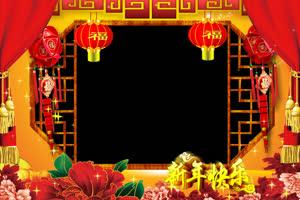 02 新年快乐拜年边框 春节绿布和绿幕视频抠像素材
