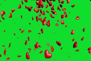 爱心下坠 下落 飘落爱心 绿屏抠像蓝幕特效素材手机特效图片