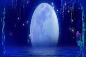 月色海面11有音乐 星空 月亮 夜晚 背景素材手机特效图片