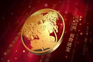 5红金喜庆22鼠年开场片头 有音乐 春节新年素材手机特效图片