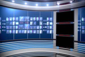 虚拟直播间 新闻演播室绿布和绿幕视频抠像素材