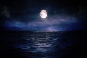 月色海面10 星空 月亮 夜晚 背景素材手机特效图片