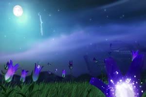 月亮星空夜晚草地荧光花 背景素材 中秋节素材手机特效图片