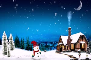 雪人 木屋 圣诞节 特效牛绿布和绿幕视频抠像素材
