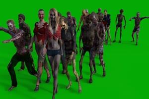 僵尸 木乃伊 大量丧尸 来绿布和绿幕视频抠像素材
