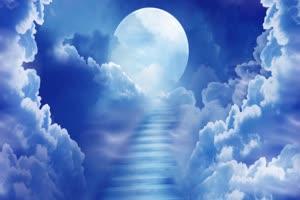 云中的月亮蓝色 背景素材 中秋节素材手机特效图片