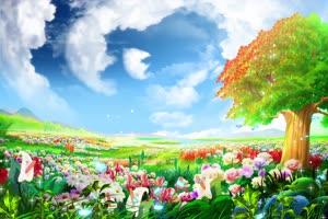 大树下超唯美风景 高清背景素材MP4 在线下载手机特效图片