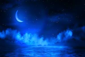 月色海面16 星空 月亮 夜晚 背景素材手机特效图片
