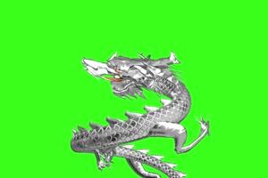 龙飞舞  神龙 银龙 白龙绿布和绿幕视频抠像素材