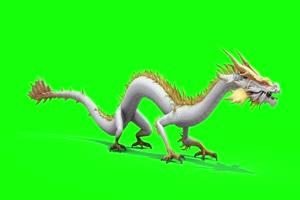 神龙 金龙 白龙站立  绿屏抠像 特效素材 特效牛手机特效图片