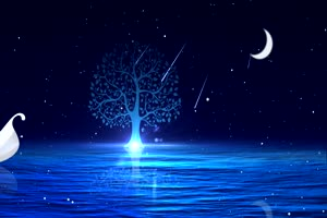 月色海面18有音乐 星空 月亮 夜晚 背景素材手机特效图片
