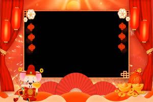 2020鼠年 春节 拜年边框 特绿布和绿幕视频抠像素材