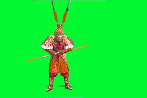 真人孙悟空 西游记 猴子绿布和绿幕视频抠像素材