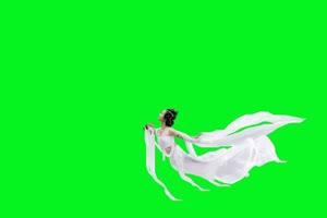 仙女 嫦娥 飞天 古装美女 绿屏抠像素材
