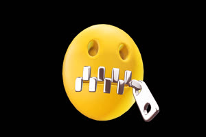 3D卡通EMOJI表情包 拉链缝嘴