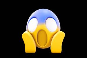 3D卡通EMOJI表情包 吃惊 恐