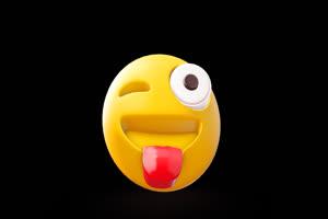 3D卡通EMOJI表情包 吐舌头表绿布和绿幕视频抠像素材