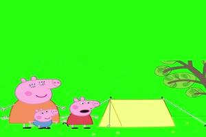 小猪佩奇帐篷小抠像素材 绿屏素材 特效素材手机特效图片