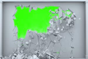 白色墙壁坍塌 碎裂 绿屏素材手机特效图片