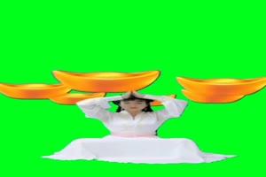 美女金元宝 绿幕素材 巧影素材 特效抠像素材 手机特效图片