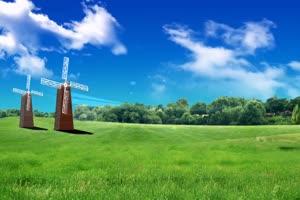 蓝天草原风车 高清背景素材MP4 在线下载手机特效图片