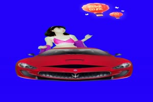香车美女 汽车 巧影抠像 AE抠像 绿幕素材手机特效图片