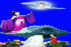 美女嫦娥奔月 月亮玉兔 跳舞 巧影抠像 AE抠像 绿手机特效图片