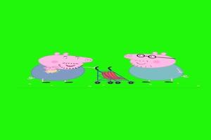 小猪佩奇婴儿车抠像素材