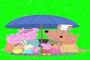 小猪佩奇雨中吃货抠像素材 绿屏素材 特效素材手机特效图片