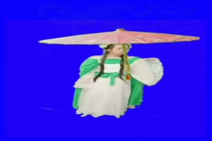 美女雨伞 绿幕素材 巧影素材 特效抠像素材 17手机特效图片