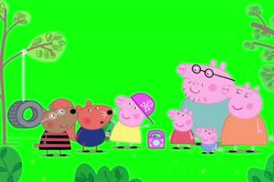 小猪佩奇长大了也可以玩游戏抠像素材 绿屏素材手机特效图片