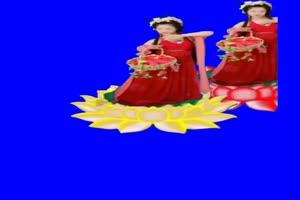 美女 仙女莲花 跳舞 巧影抠像 AE抠像 绿幕素材手机特效图片