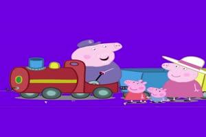 小猪佩奇装上轮子的火车抠像素材 绿屏素材 特效手机特效图片