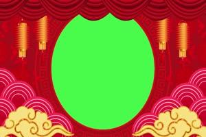 新年春节绿幕抠像边框相框拜年视频素材48手机特效图片