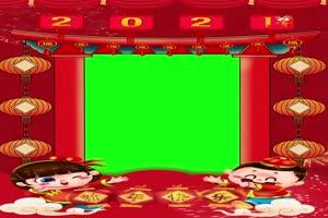 竖版手机 拜年相框绿幕抠像剪映视频素材牛年春手机特效图片