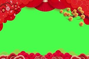 新年春节绿幕抠像边框相框拜年视频素材67手机特效图片