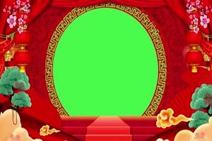 新年春节绿幕抠像边框相框拜年视频素材68手机特效图片