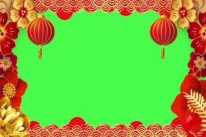 新年春节绿幕抠像边框相框拜年视频素材10手机特效图片