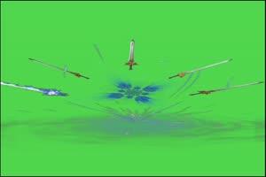 剑光刀光剑影绿幕素材 绿绿布和绿幕视频抠像素材