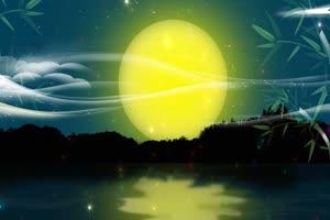 湖景月亮 背景素材 中秋节
