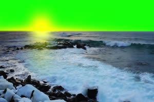 海洋 沙滩 自然绿屏抠像素绿布和绿幕视频抠像素材