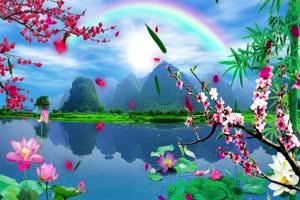 山水彩虹 桃花背景 山水背绿布和绿幕视频抠像素材