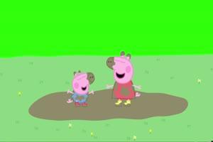 小猪佩奇 在泥坑里跳来跳去 绿屏版 绿幕素材 绿手机特效图片