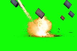 汽油桶爆炸绿布和绿幕视频抠像素材